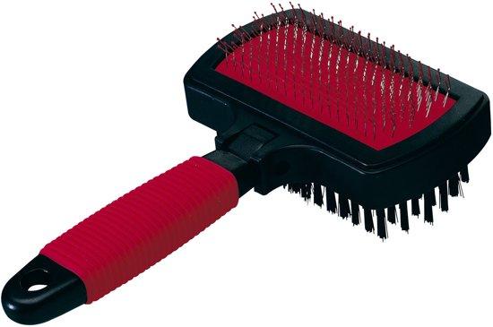 Ferplast - Borstel Dubbel Perlon - Hondenvachtborstel - 17 x 10,5 x 5 cm - Rood/zwart