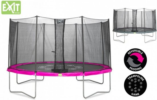 EXIT Twist trampoline ø427cm - roze/grijs