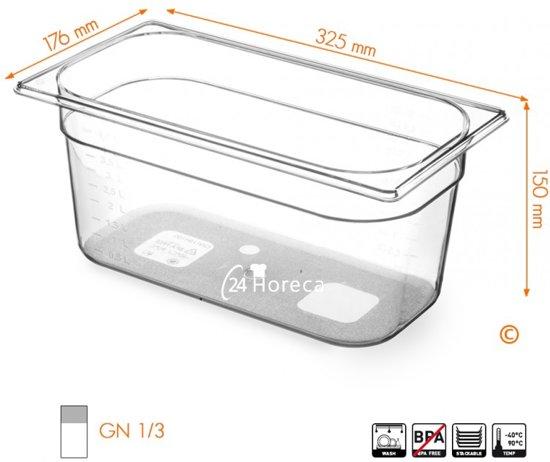 Gastronormbak BPA Vrij 1/3 150mm