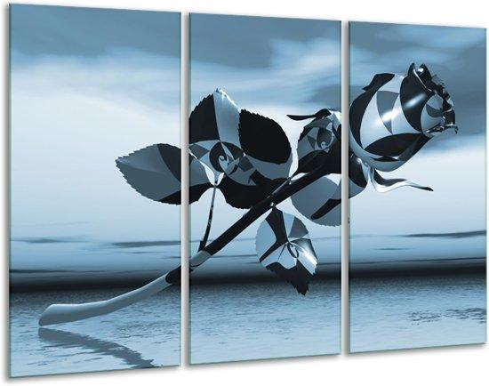 Glas schilderij Bloem, Roos | Blauw, Zilver | 120x80cm 3Luik | Foto print op Glas |  F006277