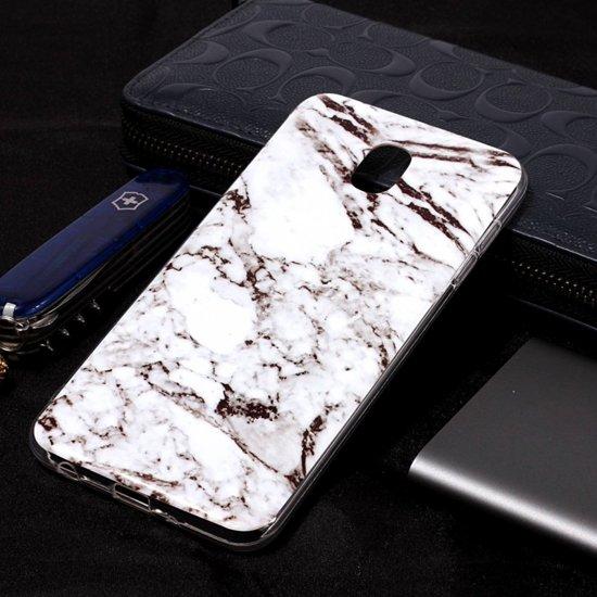 Let op type!! Marmer patroon Soft TPU Case voor Galaxy J8 (2018) (wit)
