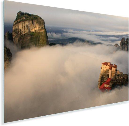 De Meteora kloosters in een wolkengordijn Plexiglas 120x80 cm - Foto print op Glas (Plexiglas wanddecoratie)