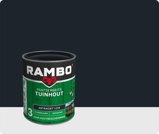 Rambo Tuinhout pantserbeits zijdeglans dekkend antraciet 1216 750 ml