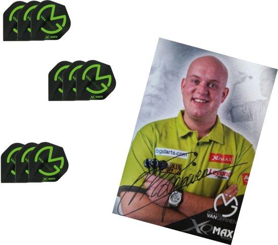 Michael van Gerwen - 3 sets - dartflights - Zwart/Groen met gratis gesigneerde MvG kaart