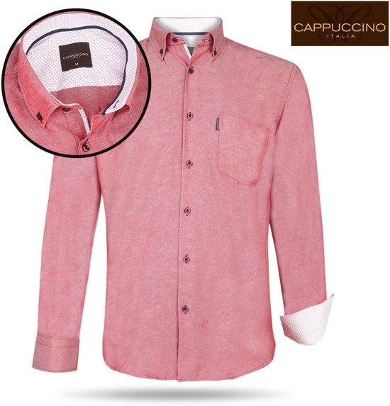 Cappuccino Italia - Heren Overhemd - Borstzakje - Rood - M