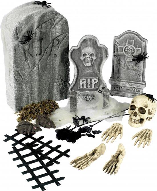 Halloween 24-delige kerkhof decoratie set met grafstenen