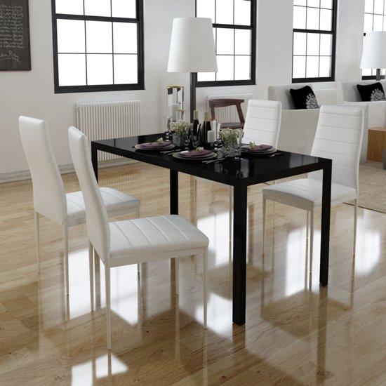 Vidaxl eethoek met 4 witte stoelen 1 tafel for Eethoek modern