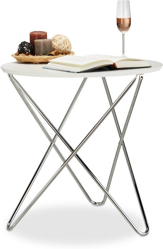 Laag Rond Tafeltje.Relaxdays Bijzettafel Rond Koffietafel Wit Woonkamertafel Metalen Poten Dia 60cm
