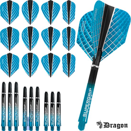 Dragon Darts – Harrows - Combi kit – Quantum-X – 3 sets darts shafts – 4 sets darts flights - Aqua