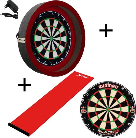Dragon - Sorpresa PRO - Complete PRO - rood-rood - winmau blade 5 - xq-dartmat - dartbord verlichting
