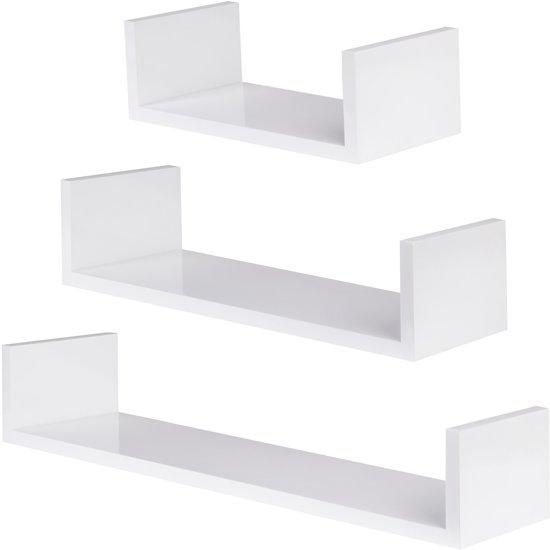 Witte Planken Aan De Muur.Bol Com Set Van 3 Wandplanken Stefanie Hoogglans Wit 401592