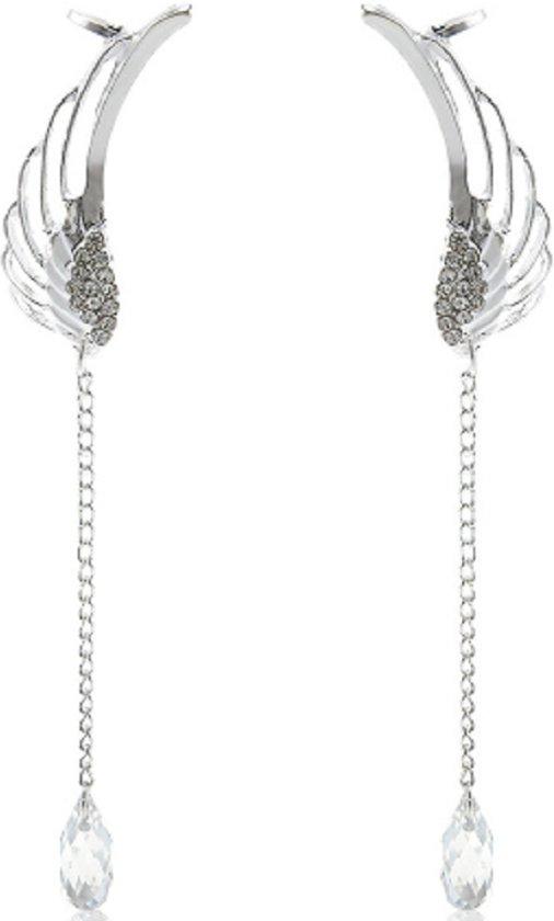 Lange vleugel glas oorbellen