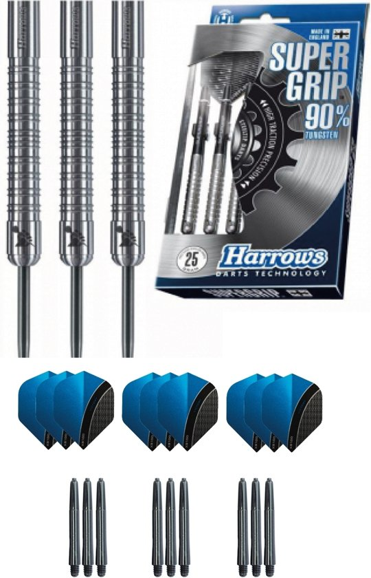 Harrows - Supergrip 90% Tungsten met 9 - dartshafts - en 9 - dartflights - 25 gram - dartpijlen