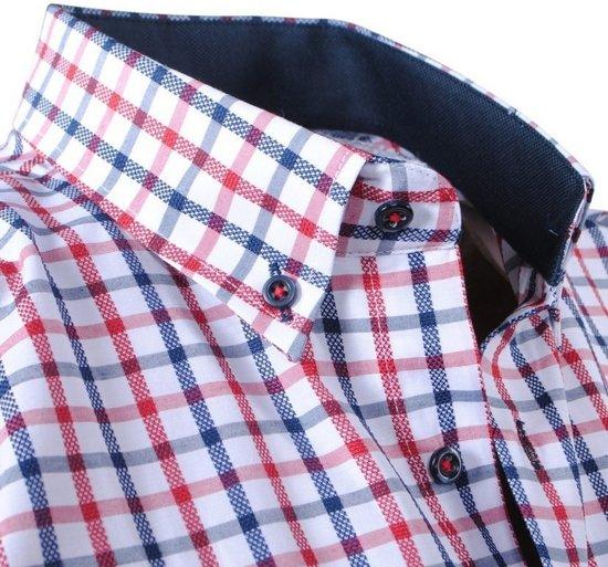 Polo Enrico Bordeaux Wit Rood Heren Borstzak Geblokt Overhemd dAA1wr