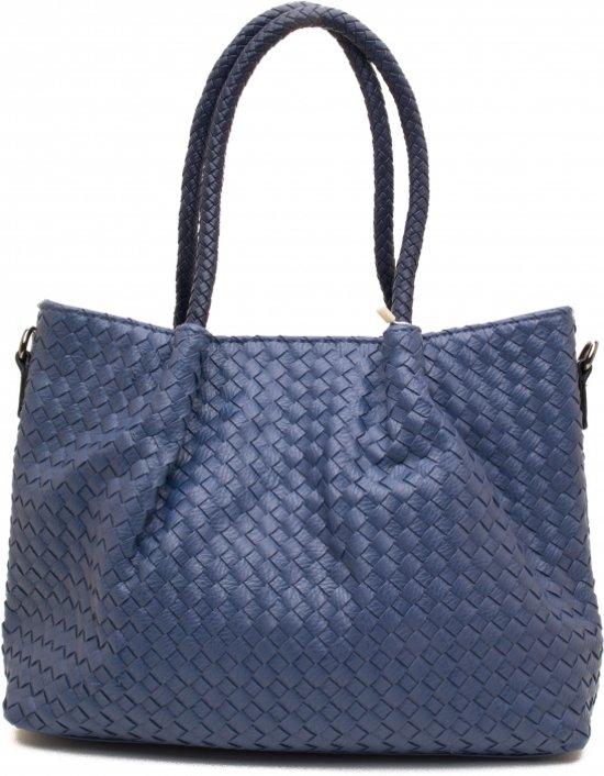 Blauwe gevlochten handtas met binnentas. Afbeelding 1 van 2 a2e8d88351