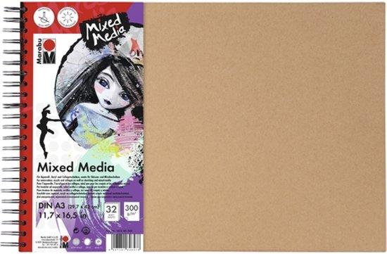 Ringboek - mixed media - dina3 300g aquarell papier