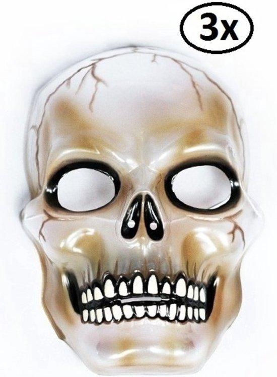 3x Halloween Masker transparant skull
