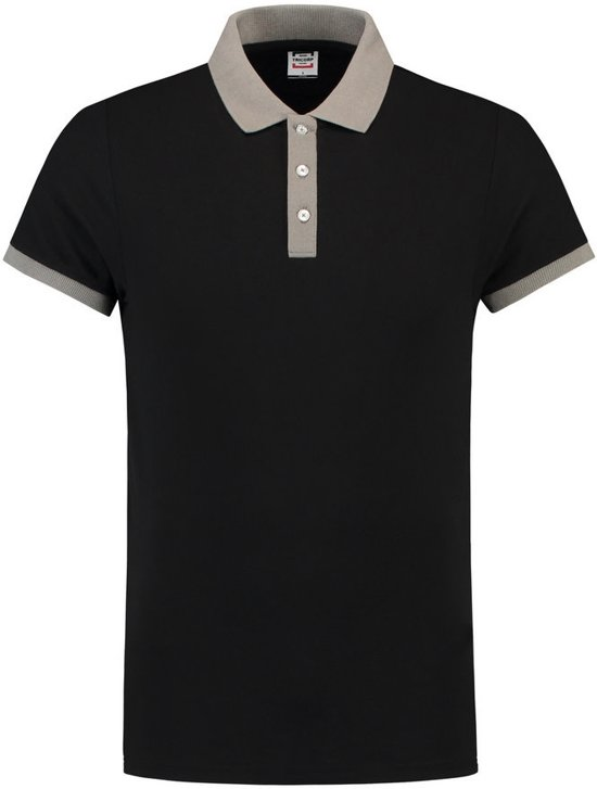 Tricorp Poloshirt bi-color fitted - Casual - 201002 - Zwart-Grijs - maat S