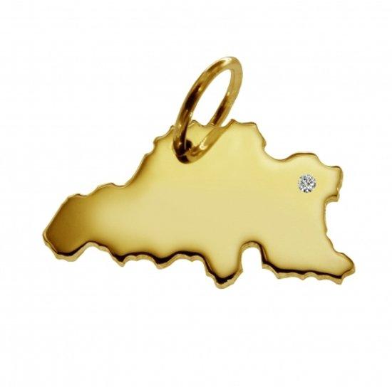 Gouden hanger land Belgie met briljant