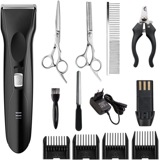 Professionele Dieren Tondeuse Set met Accu en 4 Opzetkammen - Scheerapparaat Voor Honden - Katten - Trimmer - Oplaadbaar - Draadloos - Low Noise - dog clipper kit + gratis tondeuse olie en oplader
