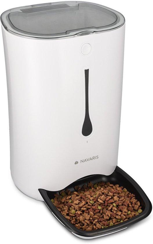 Navaris Automatische voerautomaat voerbak met timer - voor hond en kat | voederapparaat | pet feeder | automatisch voeren eten geven