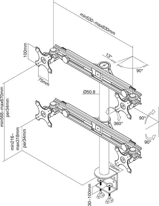NewStar FPMA-D700D4 bureausteun voor flatscreens