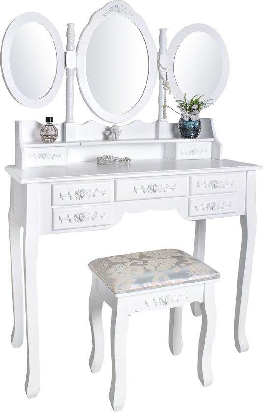 Klassieke Make-Up Cosmetica Visagie Tafel - Meisjes Toilettafel Kaptafel Met Spiegel En Kruk Stoel - Kapperstafel Opmaaktafel Hout - Wit