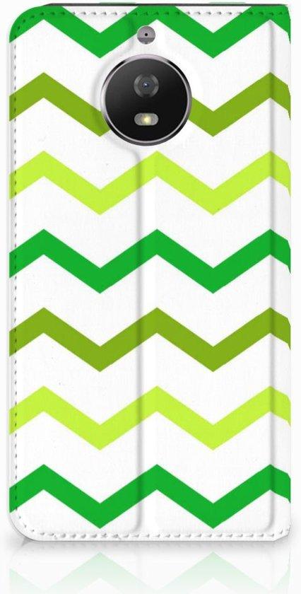 Motorola Moto G5S Uniek Standcase Hoesje Zigzag Groen