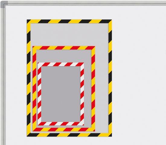 Magnetische insteekhoezen INDUSTIAL rood/wit, A5 set à 5 stuks