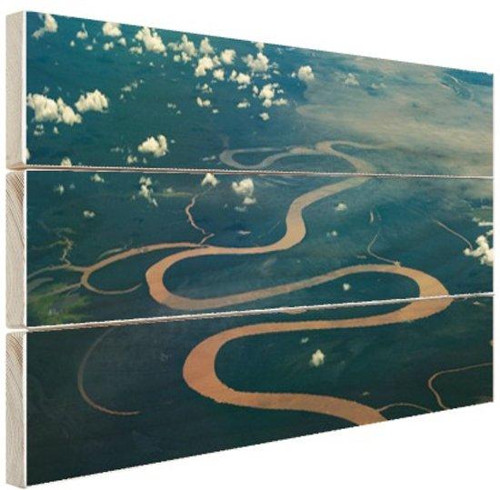 Amazone rivier Brazillie foto afdruk Hout 60x40 cm - Foto print op Hout (Wanddecoratie)