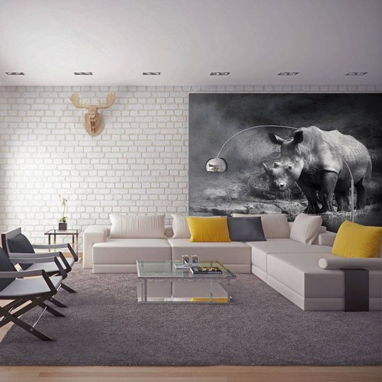 Fotobehang - Neushoorn , zwart wit