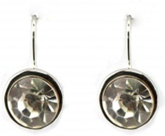 Behave® Oorbel hanger zilver kleur met steentje 1,5 cm