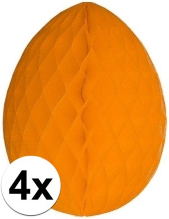4x Decoratie paasei oranje 20 cm - Paasversiering / Paasdecoratie