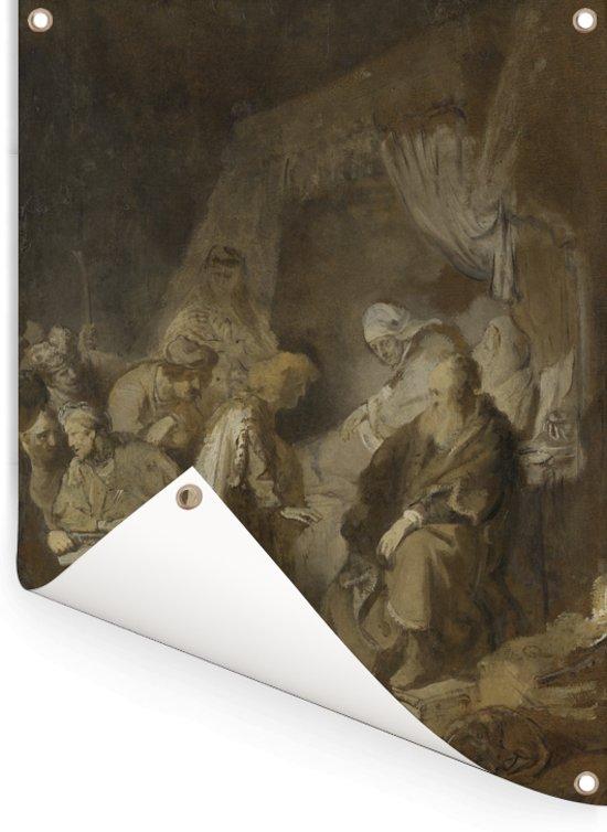 Jozef zijn dromen vertellend - Schilderij van Rembrandt van Rijn Tuinposter 120x160 cm - Tuindoek / Buitencanvas / Schilderijen voor buiten (tuin decoratie) XXL / Groot formaat!