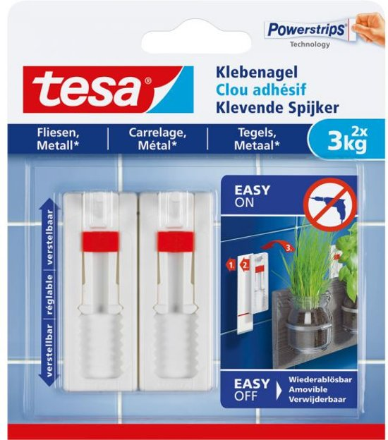 Tesa - 77764 - verstelbare klevende spijker voor metaal en tegels - tot 3kg - 2 stuks