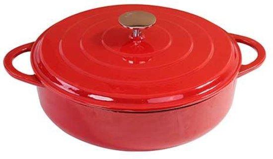 Gietijzeren lage braadpan rood, 28 cm - Sürel