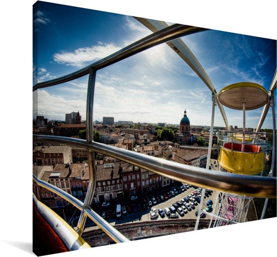 Uitzicht over de Franse stad Toulouse vanuit een reuzenrad Canvas 180x120 cm - Foto print op Canvas schilderij (Wanddecoratie woonkamer / slaapkamer) / Europese steden Canvas Schilderijen XXL / Groot formaat!