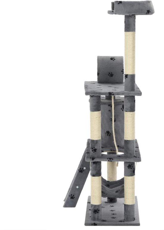 vidaXL Kattenkrabpaal met sisal krabpalen 140 cm pootafdrukken grijs