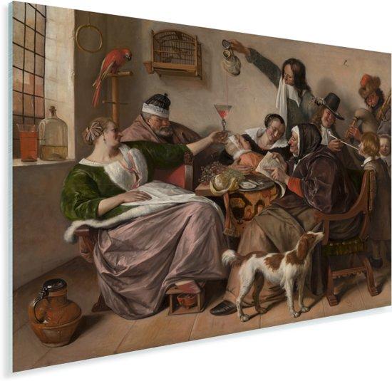 Soo voer gesongen soo na gepepen - Schilderij van Jan Steen Plexiglas 160x120 cm - Foto print op Glas (Plexiglas wanddecoratie) XXL / Groot formaat!