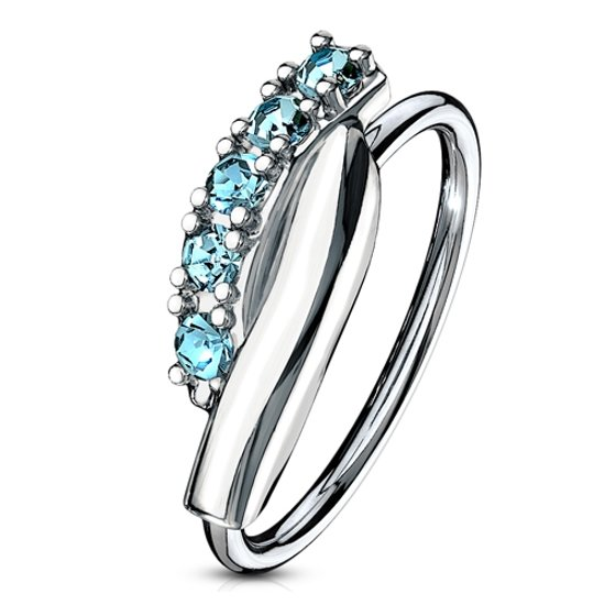 Neus piercing hoop ring twisted aqua ©LMPiercings