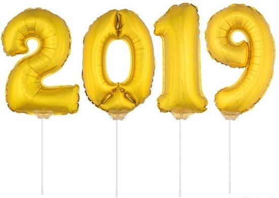 2019 folie ballonnen op een stokje - goud - oud en nieuw versiering Valentinaa