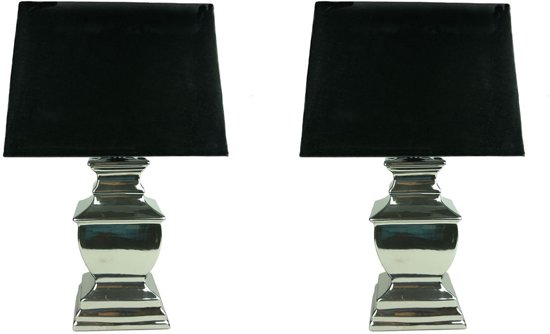 Extreem bol.com | Woon247 Set van 2 Zilveren Keramische Tafellampen LG57