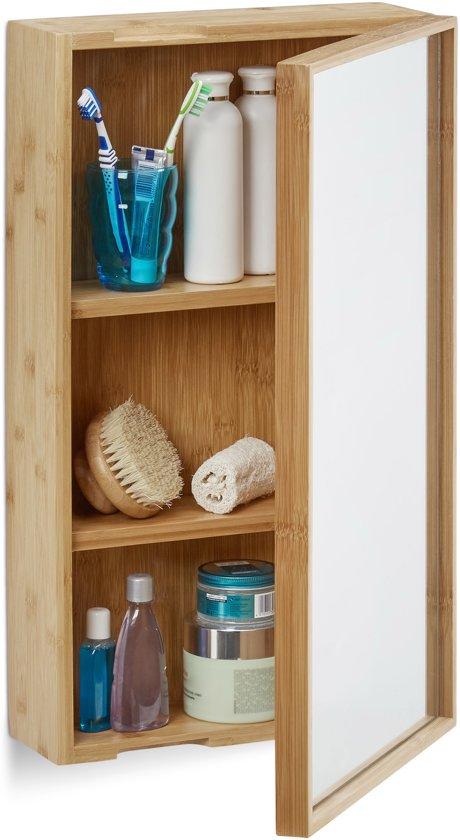 bol.com | relaxdays spiegelkast badkamer - muurkast - bamboe kast ...