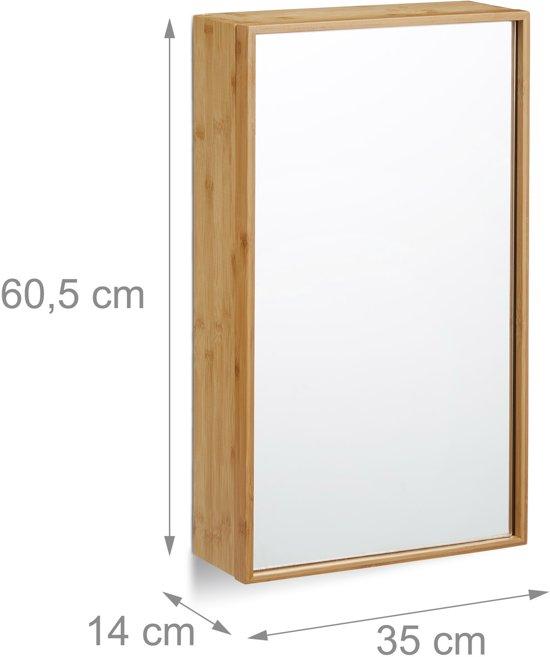 Relaxdays Spiegelkast Badkamer Muurkast Bamboe Kast Met Spiegel Hoge Badkamerkast