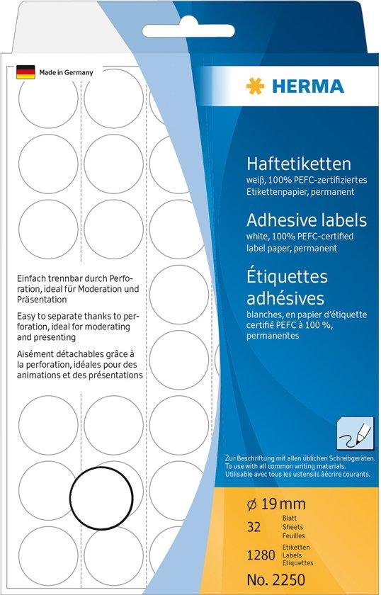 LEEGVERKOOP Herma 2250 Etiket Rond 19mm Wit - 1280 etiketten