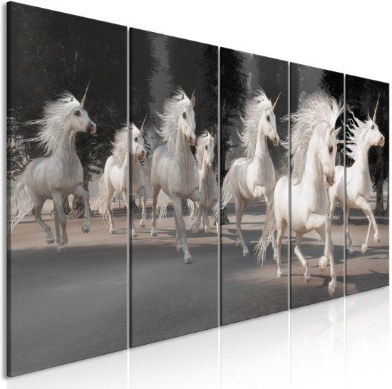 Schilderij - Unicorns in draf , 5 luik