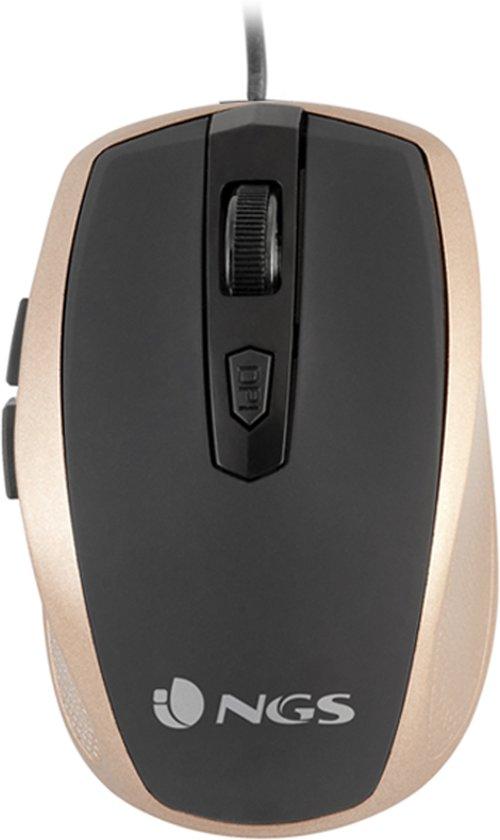 NGS Tick Gold muis USB Optisch 1600 DPI Rechtshandig Goud