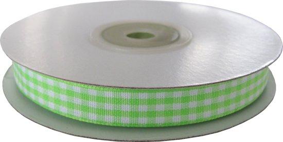 Geruit lint 6mm (rol 22 meter) - Appel Groen