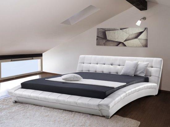bol beliani lille bed leer wit 160x200 cm