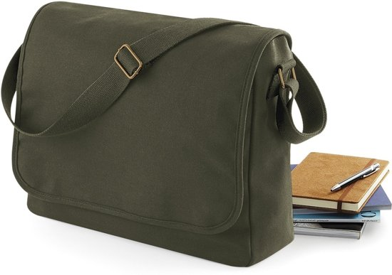 Bagbase Classic Canvas Schoudertas Military Green 13 liter
